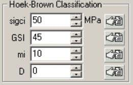 with the follo wing Hoek-Brown classification parameters. Enter this data in the sidebar input data area.