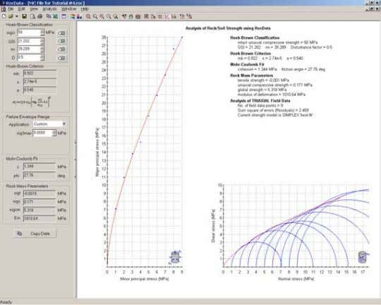 Test Data option from the Analysis menu or the toolbar. Generalized Hoek-Brown analysis of triaxial field