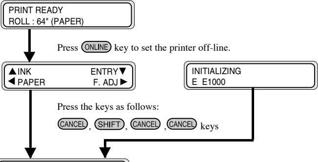 "PRINT READY ROLL : 64"" (PAPER) Press key to set the printer off-line. INK ENTRY"