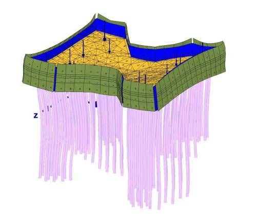 of the walls on the reduction of pile moment is small. Figure 11. Deformed raft under