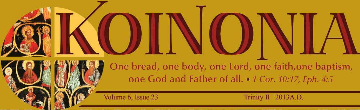 Volume 6, Issue 23 Trinity II 2013A.D.
