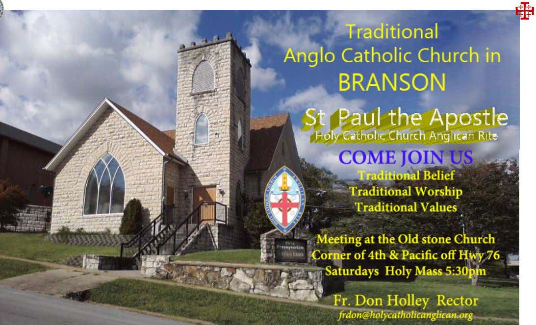 NEW CONGREGATIONS! CONGRATULATIONS TO ST. PAUL THE APOSTLE HOLY CATHOLIC CHURCH ANGLICAN RITE, BRANSON, MO