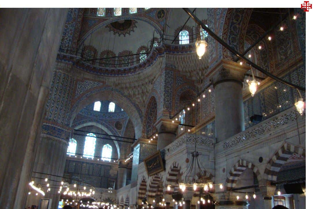 Left and top:Hagia Sophia in Istanbul (Constantinople) now a museum, with medallians describing Allah and