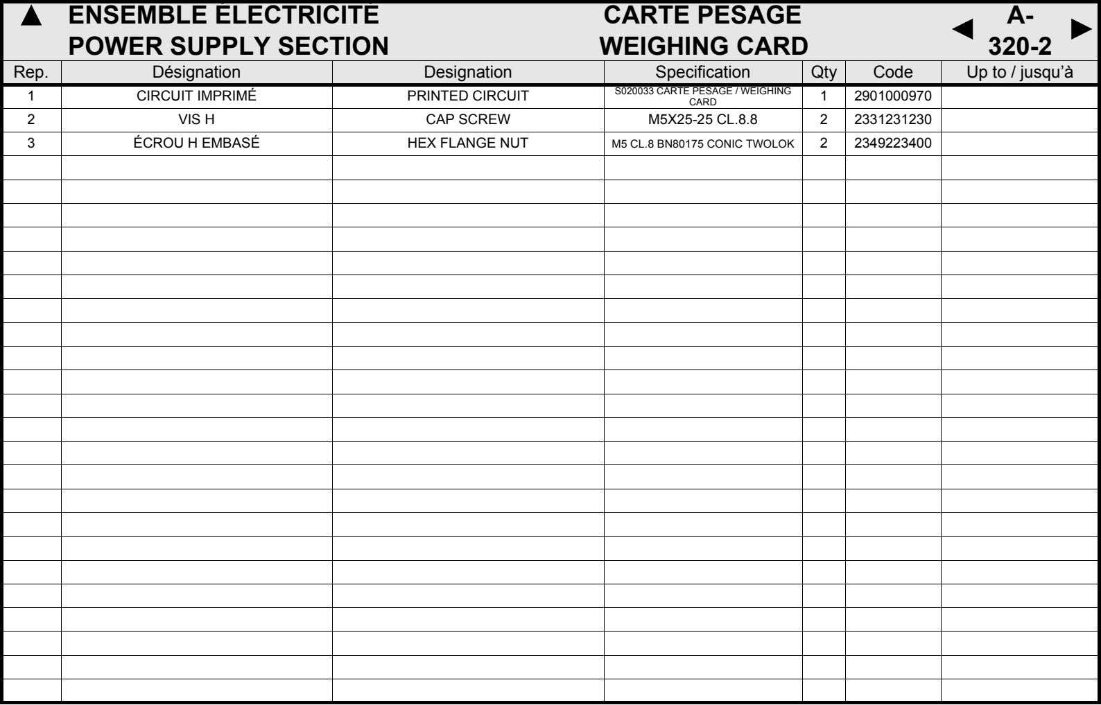 ENSEMBLE ÉLECTRICITÉ POWER SUPPLY SECTION CARTE PESAGE WEIGHING CARD A- 320-2 Rep. Désignation Designation