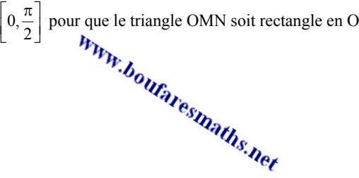 ⎡ π ⎤ 0, pour que le triangle OMN soit rectangle en O ⎢ ⎥