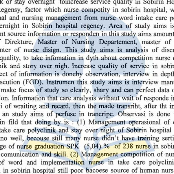 duty and authority as habituality and last experience. Key word : Operasional management, management take care