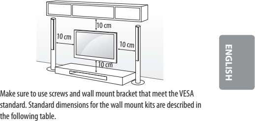 10 cm 10 cm 10 cm 10 cm Make sure to use screws and wall