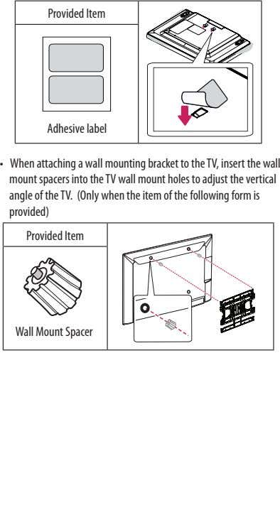 Provided Item Adhesive label •  When attaching a wall mounting bracket to the TV, insert