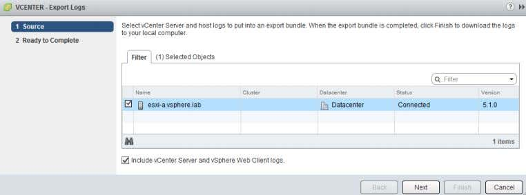 voce Include vCenter Server and vSphere Web Client logs . Alessio Carta - www.netsetup.it - Guida