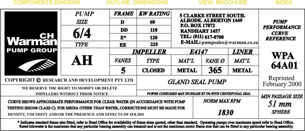 COMPONENTS DIAGRAM OUTLINE DIMENSIONS VIEW BROCHURE INDEX PUMP FRAME KWKW RATINGRATING 55 CLARKECLARKE STREETSTREET