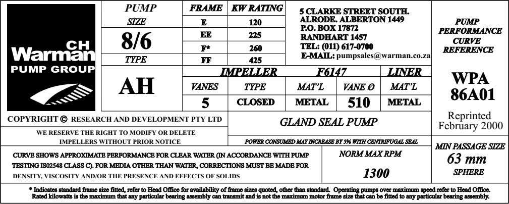 PUMP FRAME KWKW RATINGRATING 55 CLARKECLARKE STREETSTREET SOUTH.SOUTH. SIZE E 120 PUMP PERFORMANCE EE 8/6