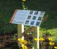 "trail in the city'. What a delightful surprise!"" Naturehood volunteers Signage with information about native plants"