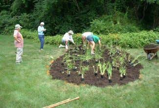 Volunteers working on the construction of a raingarden Melissa Miller • The depth of your