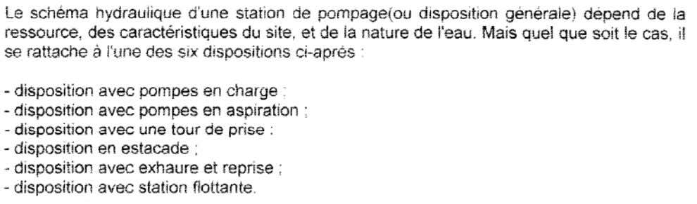 d'eau. 3. DISPOSITIONS GENERALES DES STATIONS DE POMPAGE 2.3. Situation en charge C'est la disposition la