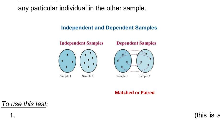 any particular individual in the other sample. Matched or Paired To use this test: 1.