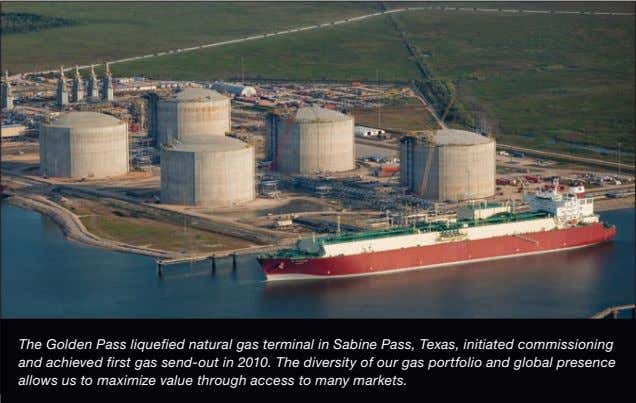 The Golden Pass liquefied natural gas terminal in Sabine Pass, Texas, initiated commissioning and achieved
