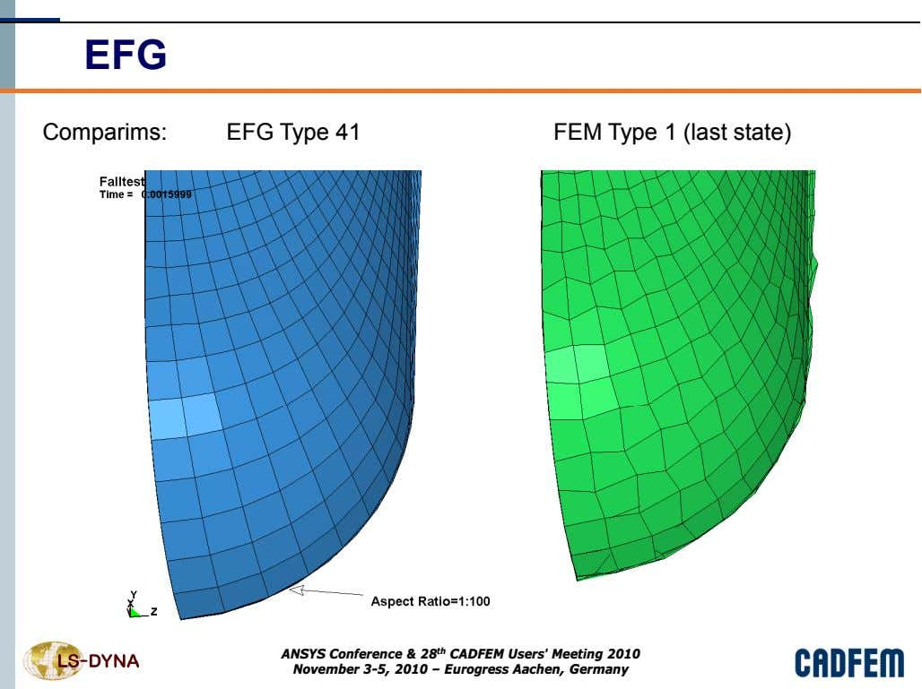 EFG Comparims: EFG Type 41 FEM Type 1 (last state) ANSYS Conference & 28 th