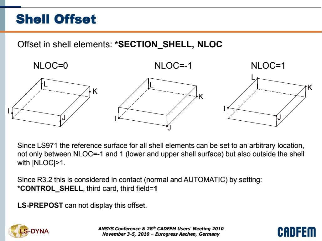 Shell Offset Offset in shell elements: *SECTION_SHELL, NLOC NLOC=0 NLOC=-1 NLOC=1 L L L K