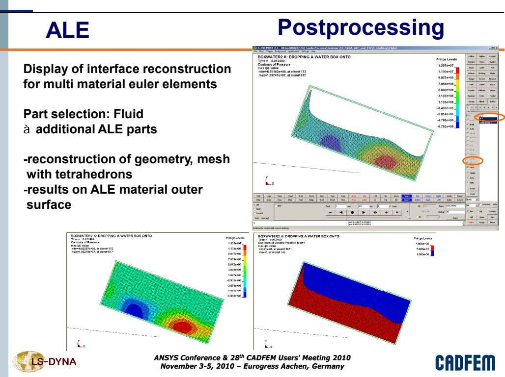 ALE Postprocessing Display of interface reconstruction for multi material euler elements Part selection: Fluid