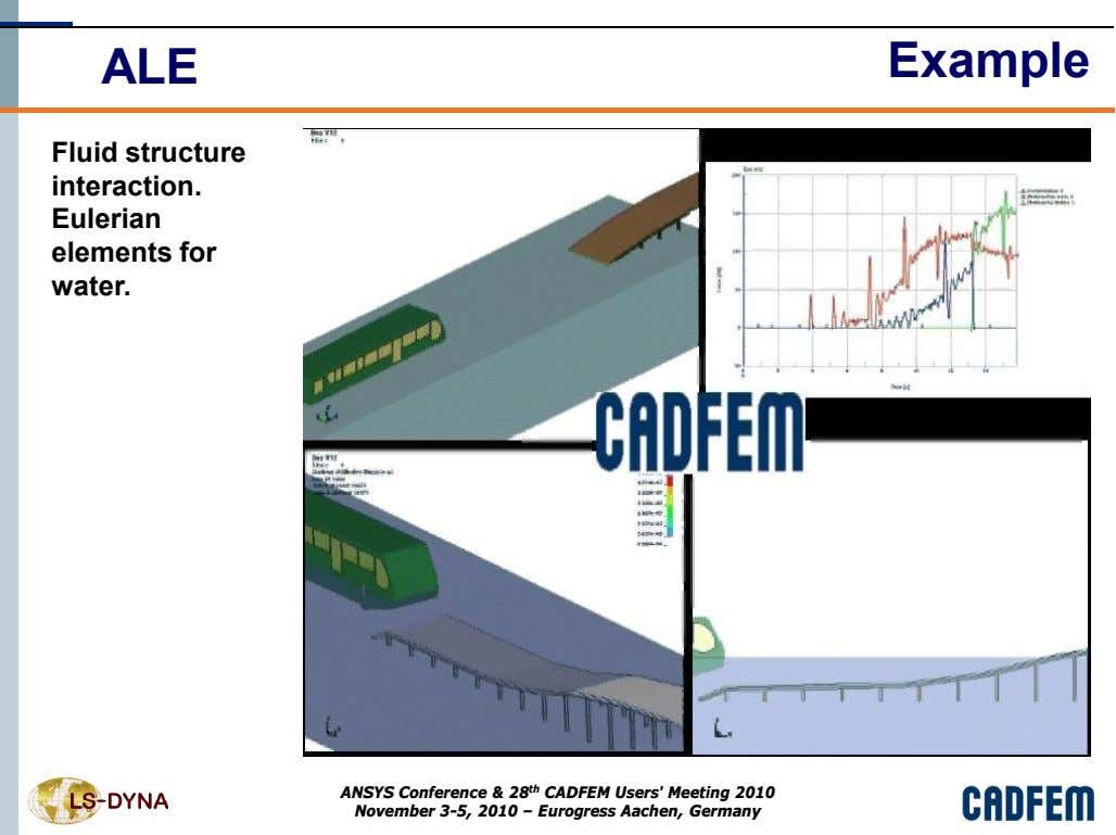 ALE Example Fluid structure interaction. Eulerian elements for water. ANSYS Conference & 28 th CADFEM