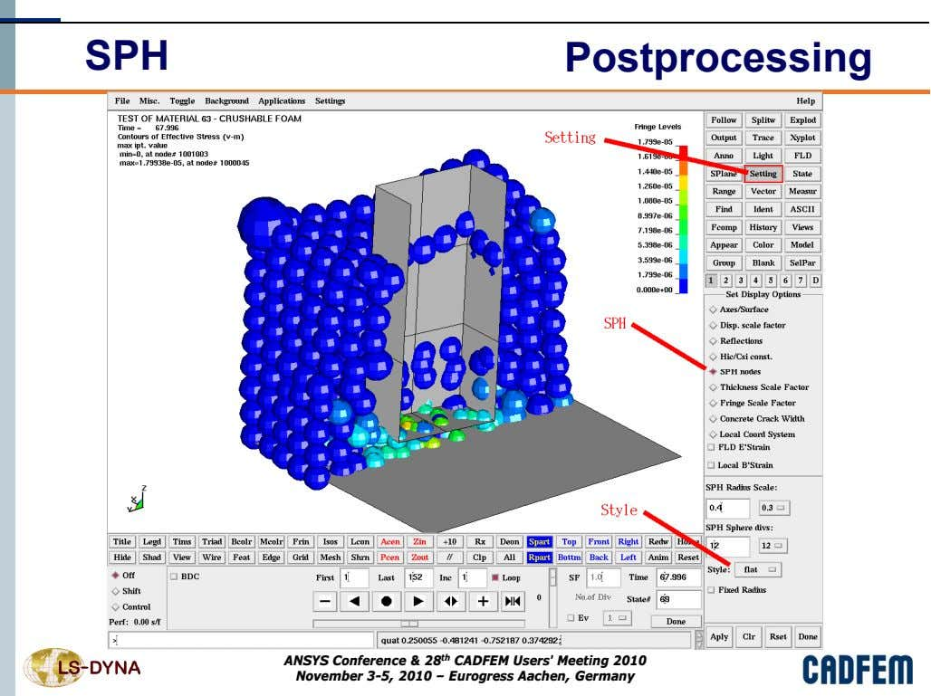 SPH Postprocessing ANSYS Conference & 28 th CADFEM Users' Meeting 2010 November 3-5, 2010 –
