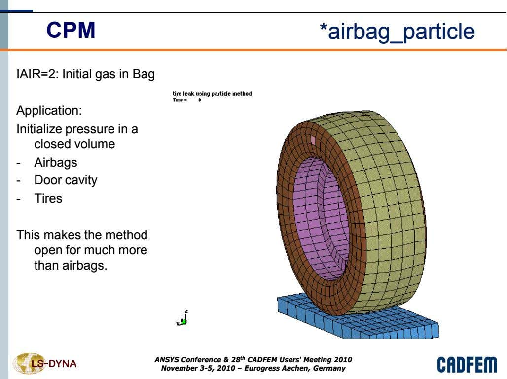 CPM *airbag_particle IAIR=2: Initial gas in Bag Application: Initialize pressure in a closed volume -