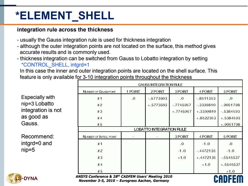 *ELEMENT_SHELL integration rule across the thickness - usually the Gauss integration rule is used for