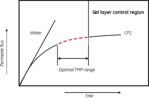 Gel layer control region Water CF1 Optimal TMP range TMP Permeate flux