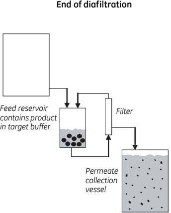 End of diafiltration Feed reservoir contains product in target buffer Filter Permeate collection vessel