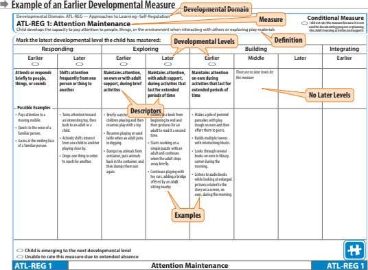 Æ Example of an Earlier Developmental Measure Developmental Domain Developmental Domain: ATL-REG — Approaches to