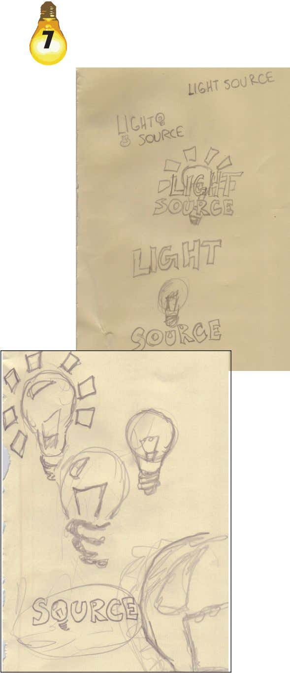 The sketches show how text arrangement as well as the placement of the lightbulb were thought
