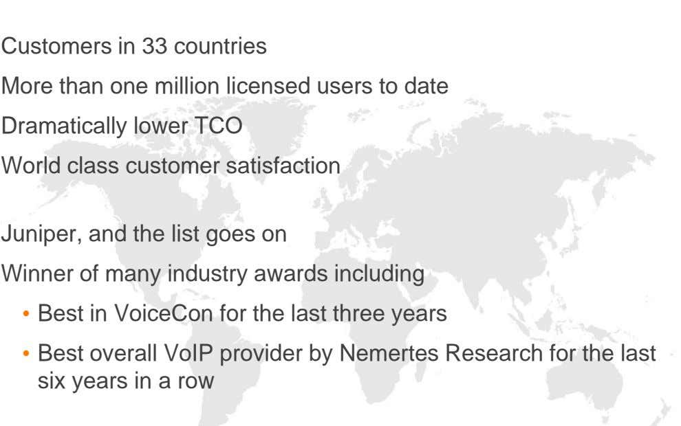 Customers in 33 countries More than one million licensed users to date Dramatically lower TCO