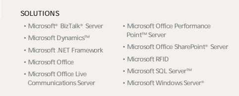 SOLUTIONS • Microsoft ® BizTalk ® Server • Microsoft Office Performance Point™ Server • Microsoft