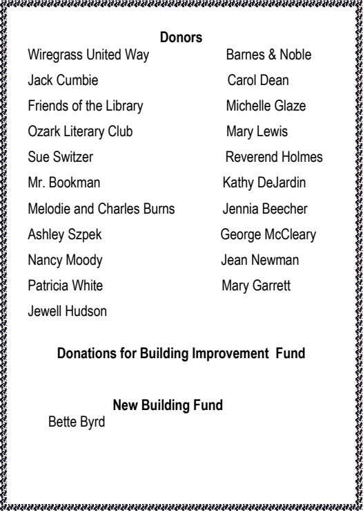 Donors Wiregrass United Way Barnes & Noble Jack Cumbie Carol Dean Friends of the Library