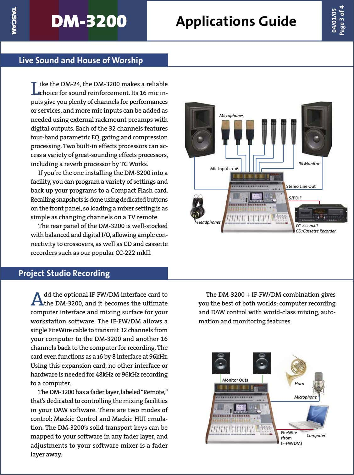 DM- 3200 Applications Guide Live Sound and House of Worship L ike the DM-24, the