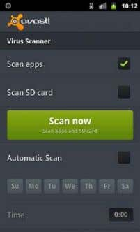 ● Datenverbrauch ● Anti-Theft ● Einstellungen Virus Scanner avast! Mobile Security scannt auf Befehl alle