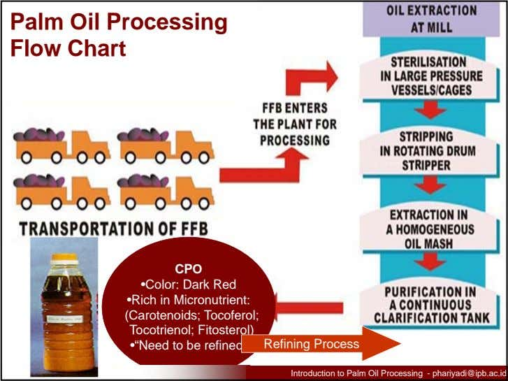 Palm Oil Processing Flow Chart CPO •Color: Dark Red •Rich in Micronutrient: (Carotenoids; Tocoferol;