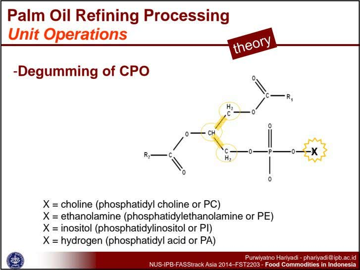 Palm Oil Refining Processing Unit Operations -Degumming of CPO X X = choline (phosphatidyl choline