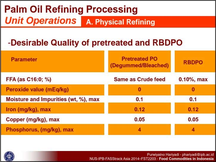 Palm Oil Refining Processing Unit Operations A. Physical Refining -Desirable Quality of pretreated and RBDPO
