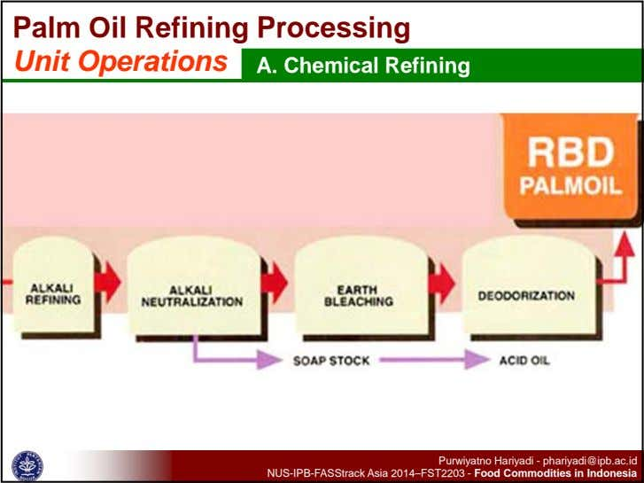 Palm Oil Refining Processing Unit Operations A. Chemical Refining -Desirable Quality of pretreated and RBDPO