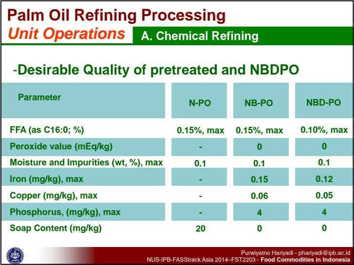 Palm Oil Refining Processing Unit Operations A. Chemical Refining -Desirable Quality of pretreated and NBDPO
