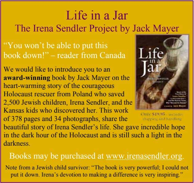 "Life in a Jar The Irena Sendler Project by Jack Mayer ""You won't be able"