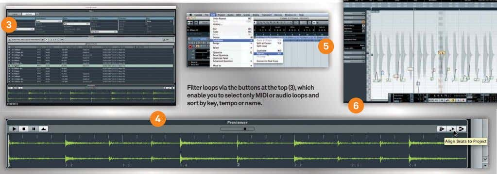 3 5 Filter loops via the buttons at the top (3), which enable you to