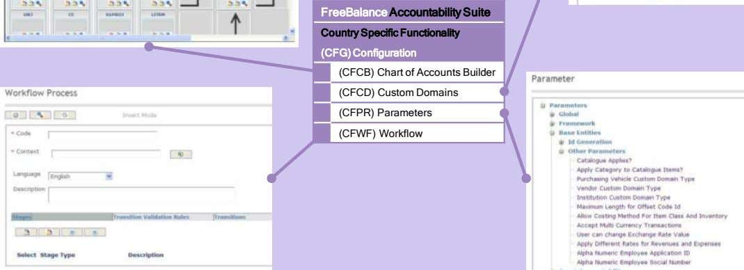Country Specific Functionality (CFG) Configuration (CFCB) Chart of Accounts Builder (CFCD) Custom Domains (CFPR)