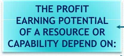 THE PROFIT EARNING POTENTIAL OF A RESOURCE OR CAPABILITY DEPEND ON: