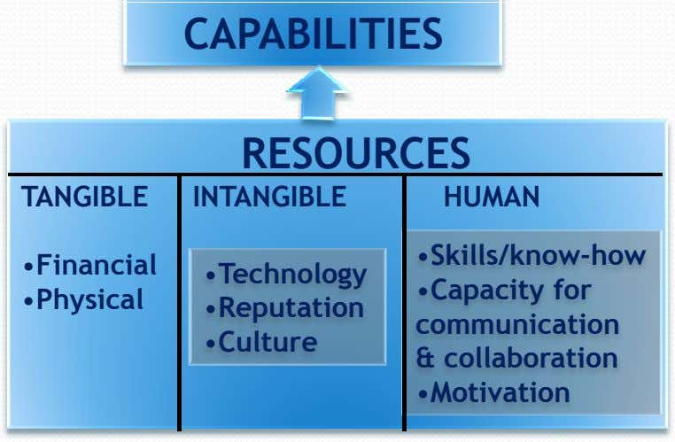 CAPABILITIES RESOURCES TANGIBLE INTANGIBLE HUMAN •Financial •Technology •Physical •Reputation •Culture