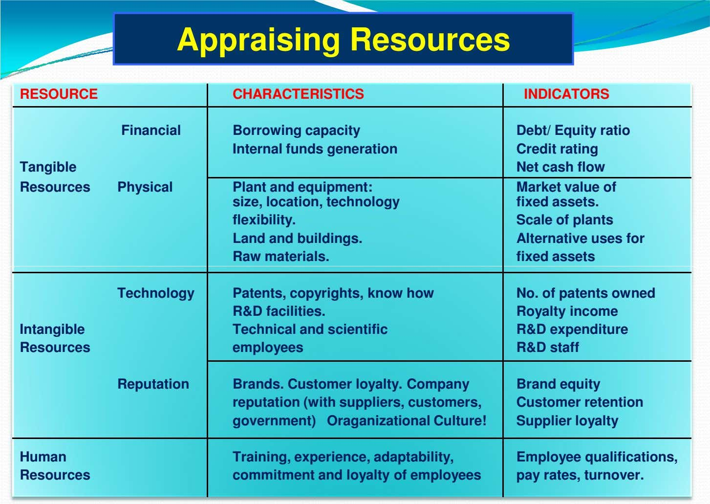 Appraising Resources RESOURCE CHARACTERISTICS INDICATORS Financial Borrowing capacity Internal funds generation