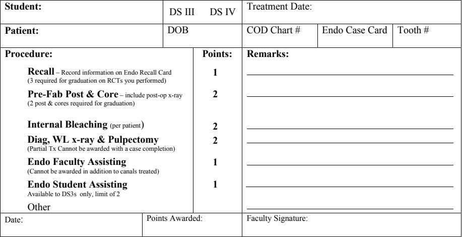 Student: Treatment Date: DS III DS IV Patient: DOB COD Chart # Endo Case Card