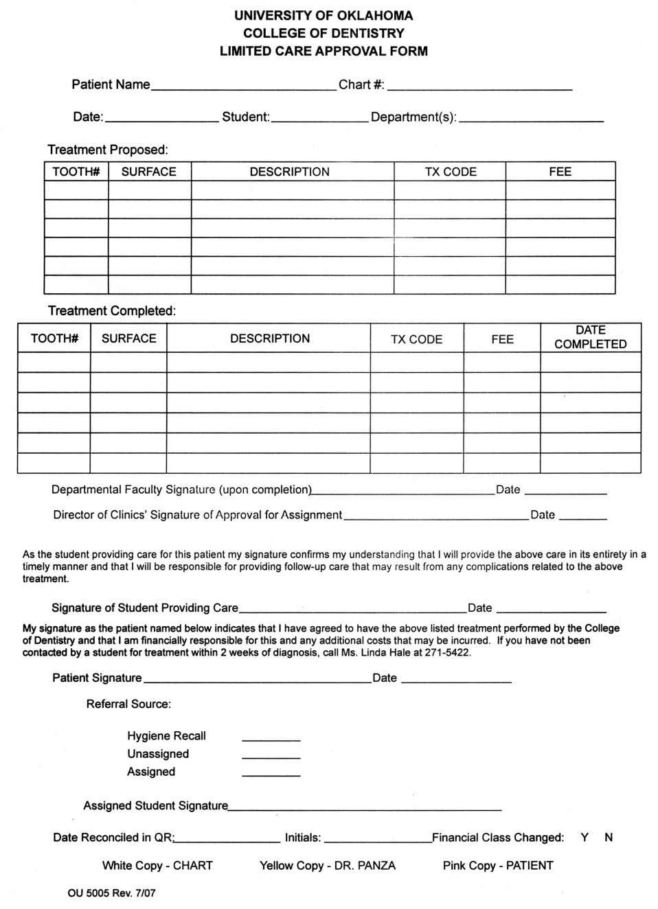 Fig. 4b Limited Care Approval Form, from COD Clinic Operations 44