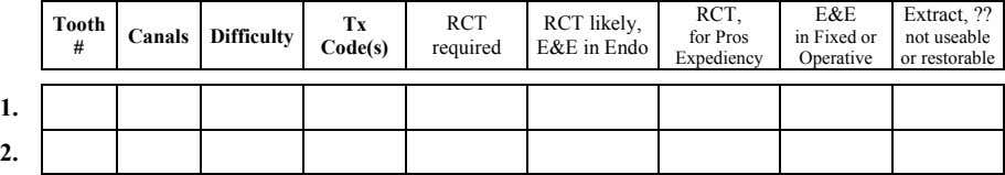 RCT, E&E Extract, ?? Tooth Tx RCT Canals Difficulty RCT likely, E&E in Endo for